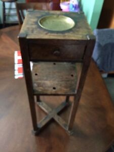 Antique oak bedside change plate