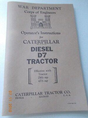 Caterpillar Cat Operators Instructions Diesel D7 Tractor War Dept Corps Of Engr