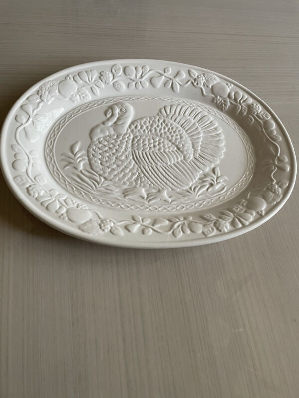 "Large Turkey Oval Serving Platter floral 18 3/8""x13 1/4""Embossed Thanksgiving"