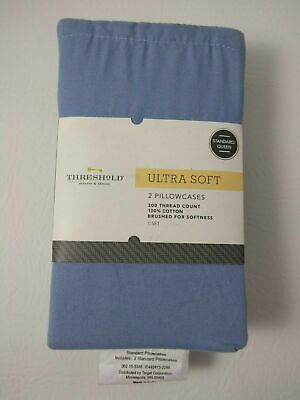 Threshold Ultra Soft Solid Blue 2 Pillowcase Set 300 Thread Count