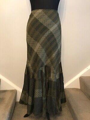 Per Una stunning khaki Steampunk boho skirt lovely flared shape size 16 long