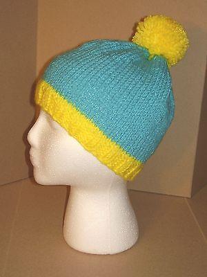 - Hand Knit Hat/Beanie - Teal Blue & Yellow cartman like beanie