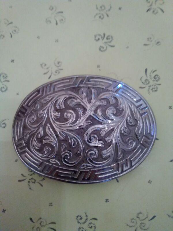 Vintage mens western belt buckle silver