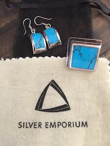 Turquoise & silver earrings & ring