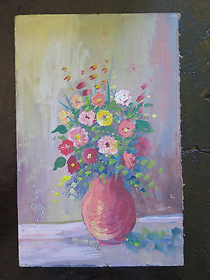 Delicate Painting Vintage To oil On Board Theme Floral Blossom Years 60 V