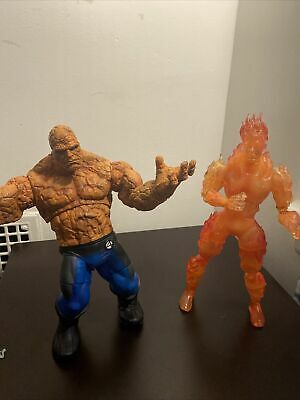 Marvels Fantastic 4- Human Torch And The Thing Action Figure Lot. (2005 Toy Biz)