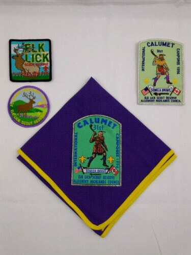 Boy Scout Allegheny Highlands Neckerchief and Patches 1996 Elk Lick