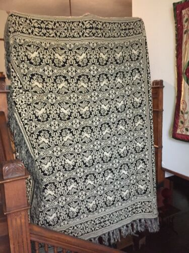 19th Century Jacquard Woven Blanket