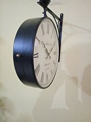 12 inches Black Antique Double Sided Victoria Station Railway Functional Clock