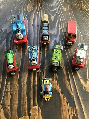 Thomas The Train Lot Of 8. 5 Diecast, 1 Wooden, 1 Battery powered And 1 Mini.