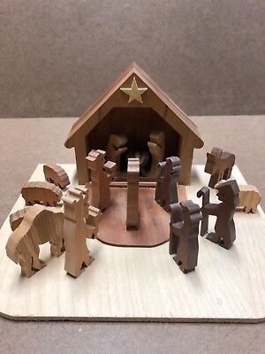 Handmade 17-pc Wooden Manger Nativity Set. Self-contained. Great Christmas Gift! - Wooden Nativity Set