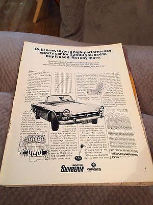 Vintage Magazine Advertisement 1967 Chrysler Sunbeam Alpine Automotive Original