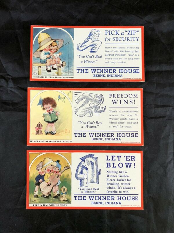 3 Vintage Advertising Ink Blotters The Winner House Clothing - Art- John G Scott