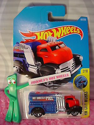 2016 i Hot Wheels FAST GASSIN #167✰Red Cab; Blue; FUEL✰City Works✰Case Q/2017 A