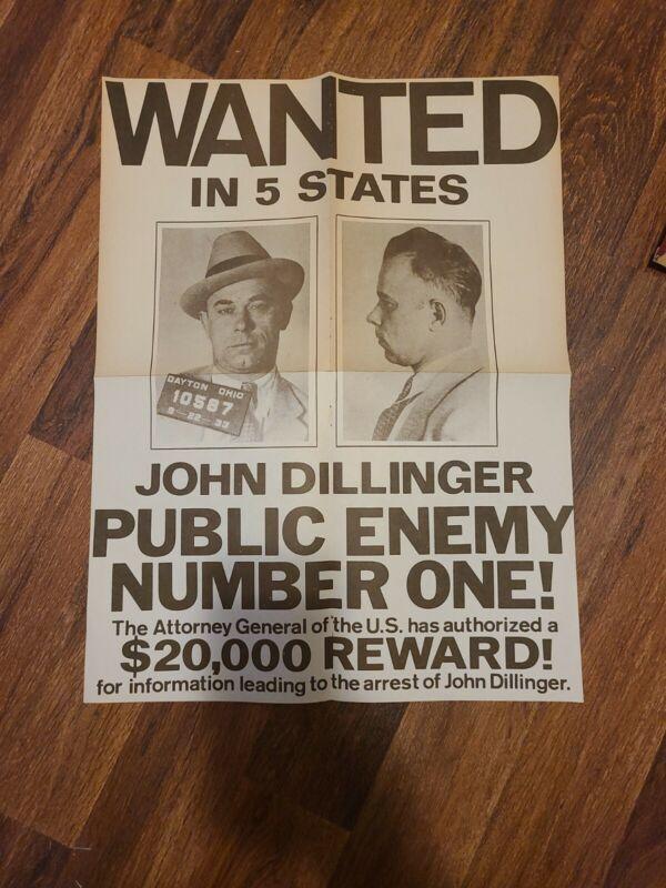 John Dillinger 1933 Wanted Poster 16 x 21 1/2 American Gangster