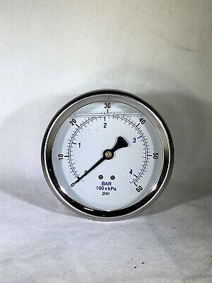 Liquid Filled Pressure Gauge 0-60 Psi 4 Face 14 Back Mount