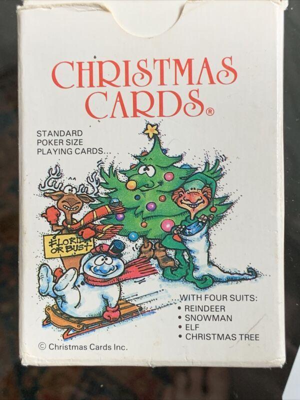 Vintage 1986 Christmas Playing Cards Deck Reindeer Elf Snowman Tree
