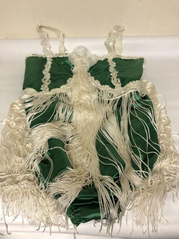 Vintage Size 12 Green Leotard One Piece Swimsuit With Fringes Ballerina School