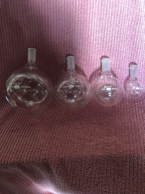 4pcs Kimax Round Bottom Flask Lab Distilling 2000/1000/500/100ml 24/40