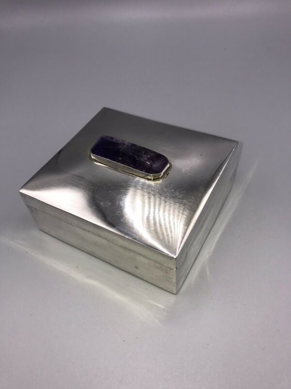 Antique Sanborns Sterling Mexico Sterling Silver Box w/ Amethyst Top