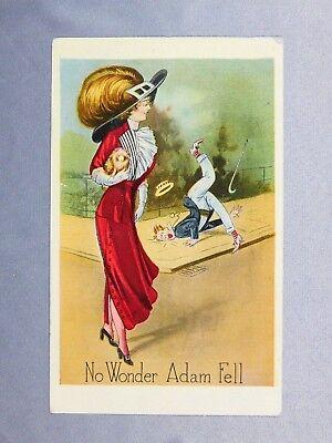 Vintage Postcard: No Wonder Adam Fell - posted 1915