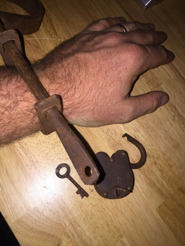 Straight Jacket Shackles Rustic Prison Guard Solid Metal Cast Iron Handcuffs Vg