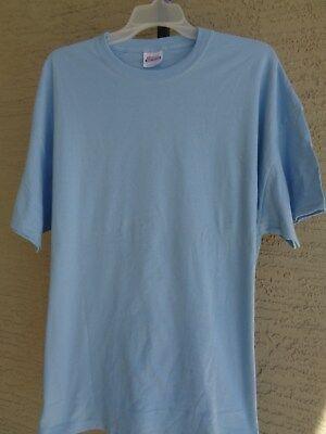 - New  HANES  3XL Heavy Weight Cotton S/S Crew Neck Tee Shirt  Light Blue