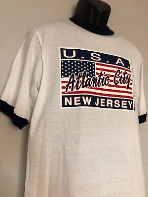 Vtg Atlantic City T Shirt NJ Ringer Men's Large Red White Blue Made USA July 4th