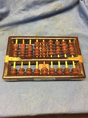 Chinese Lotus-Flower Wooden Abacus 9 Rods 63 Beads