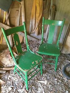 Primitive wooden chairs.