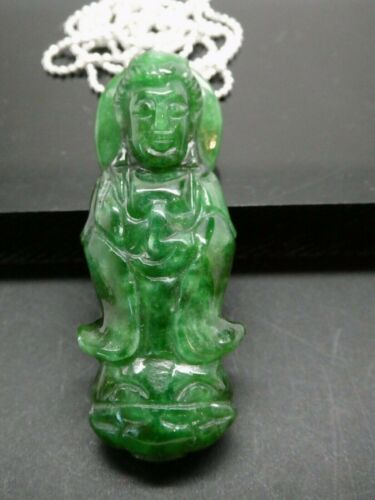 Quan Yin Guanyin Green Chinese Jade Buddha Goddess Of Compassion SP Necklace