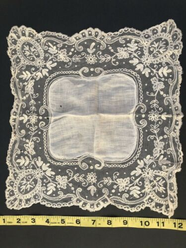 """Antique Victorian Handmade Hand Embroidery Tambour Lace Net 13"""" Bridal Hankie"""