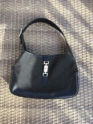 Gucci Jackie O Black Monogram Canvas & Leather Hobo Shoulder Purse Bag