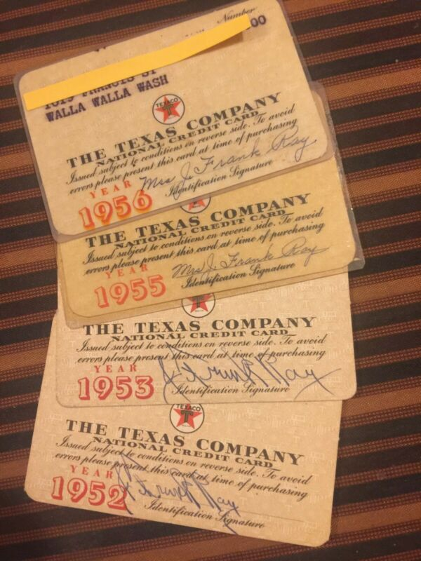 Texaco the texas company 1952 1953 1955 1956 Vintage national 4 credit cards old