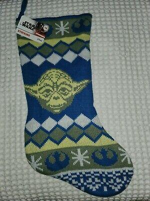 Knit Christmas Stockings (Star Wars Yoda Blue Knit Christmas Stocking 18