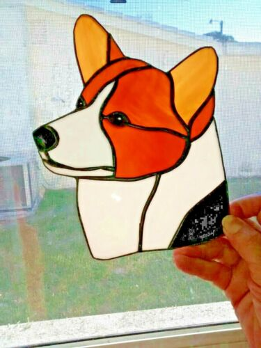 STAINED GLASS - DOG - PEMBROKE CORGI - RED TRI