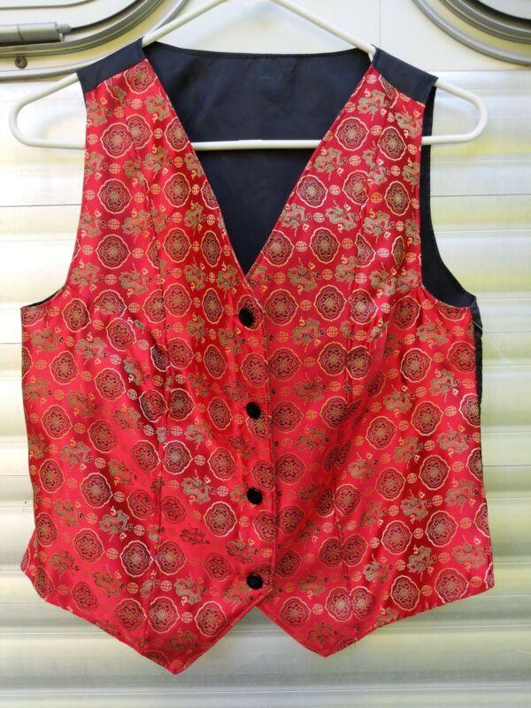 Beautiful Red Silk Saddleseat Vest sz 12/14