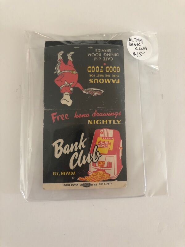 Vintage Las Vegas Matchbook Bank Club Unstruck