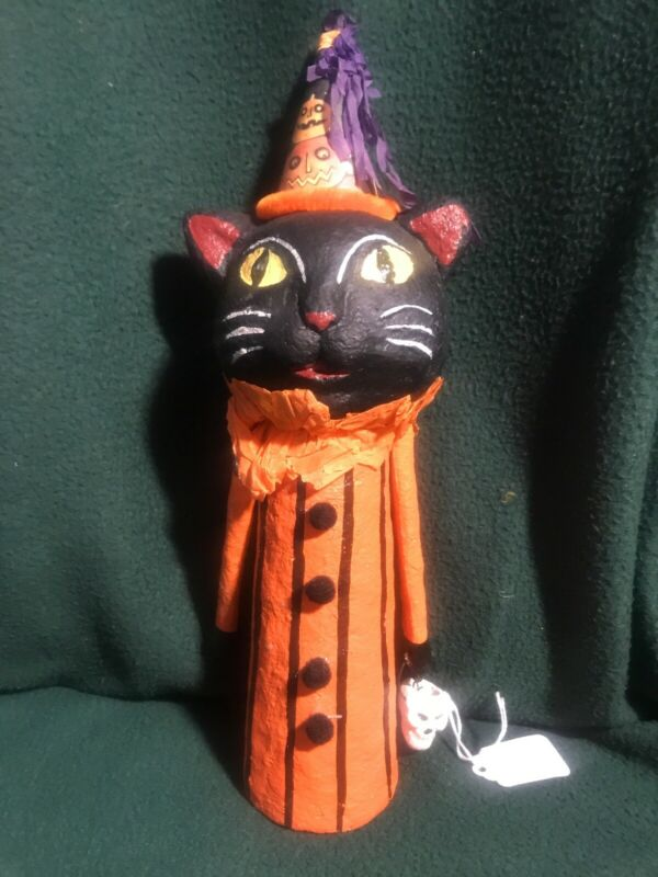 "12"" Halloween Black Cat And Skull Primitive Folk Art Decoration Holiday Spooky"