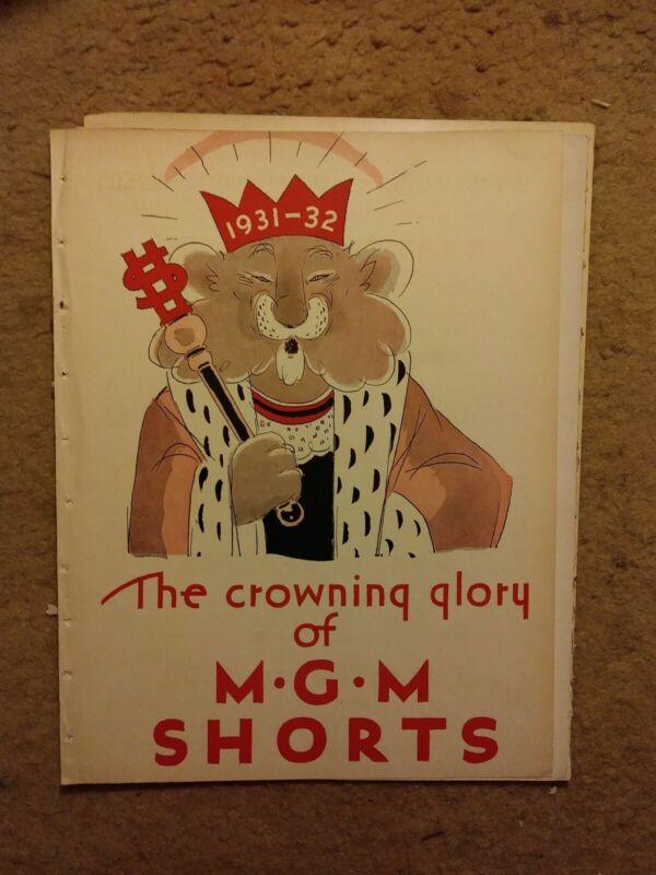 Vintage Hollywood memorabilia CrowningofMGM Shorts w/invitation & herald