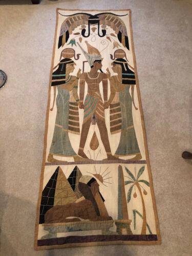 Antique Textile Egyptian Scene Applique Tapestry Wall Panel Folk Art