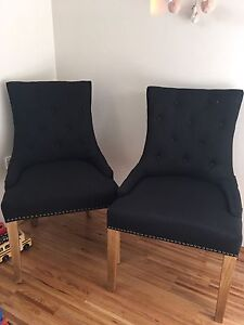2 x black fabric quilted dining chairs with studs Naremburn Willoughby Area Preview