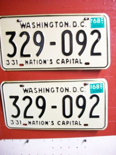 DIST OF COLUMBIA  =LOT =PASSENGER = PAIR =  1968  = LICENSE PLATE = ++651