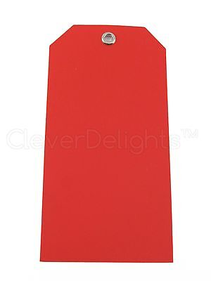 50 Red Plastic Tags - 4.75 X 2.375 - Tearproof - Inventory Id Price Tags