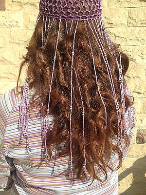Beaded Full Head Cover Costume Egyptian Tribal Dancewear Hair Cap (Tribal Costumes)