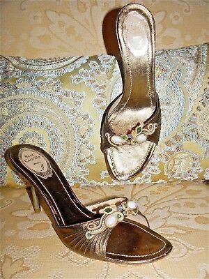 RENE CAOVILLA METALLIC BRONZE JEWELED STILETTO MULES SANDALS HEELS 39 9 NEW $750 Jeweled Stiletto