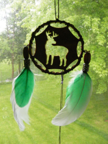 Deer Dreamcatcher Ornament Handmade Wood Support Wildlife Rehab