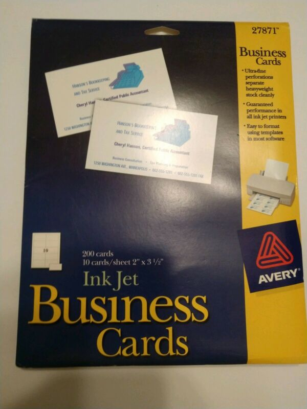 """Avery, Ink Jet, Business Cards, 2""""x 3.5"""" White 27871 18 sheets 180 cards"""