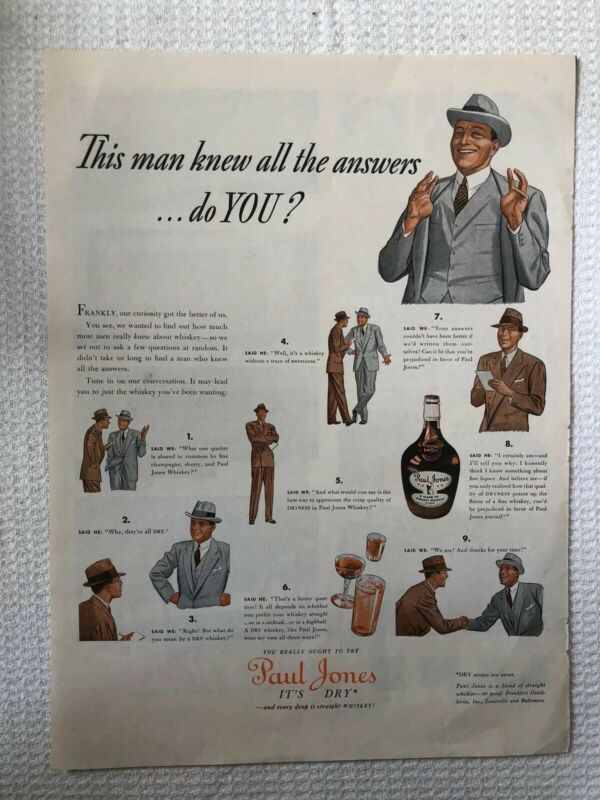 Vintage Paul Jones Whiskey Man Knows All The Answers Print Ad