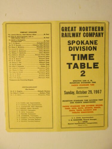 Great Northern Railway Time Table No. 2 Oct. 29, 1967 Spokane Division